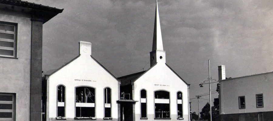 Biblioteca e capela em construção